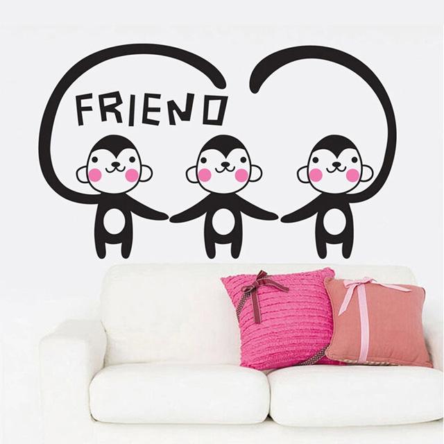 Виниловые наклейки для стен в игровой зоне детей с названием «Мои друзья обезьянки».