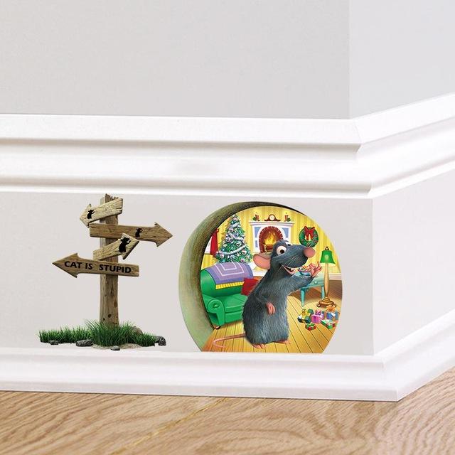 Виниловые наклейки для интерьера лестниц «Мыши в норе».
