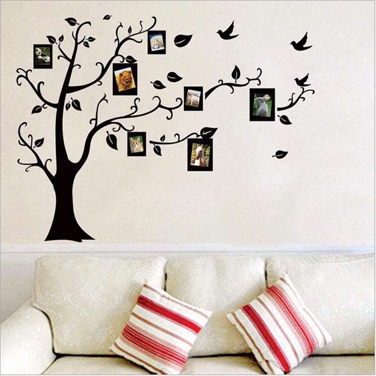Интерьерные наклейки на стену в виде «Родословного дерева с фоторамками»