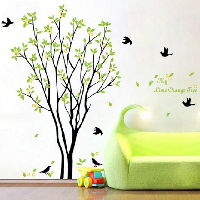 Наклейки на обои «Поющие птицы на дереве»
