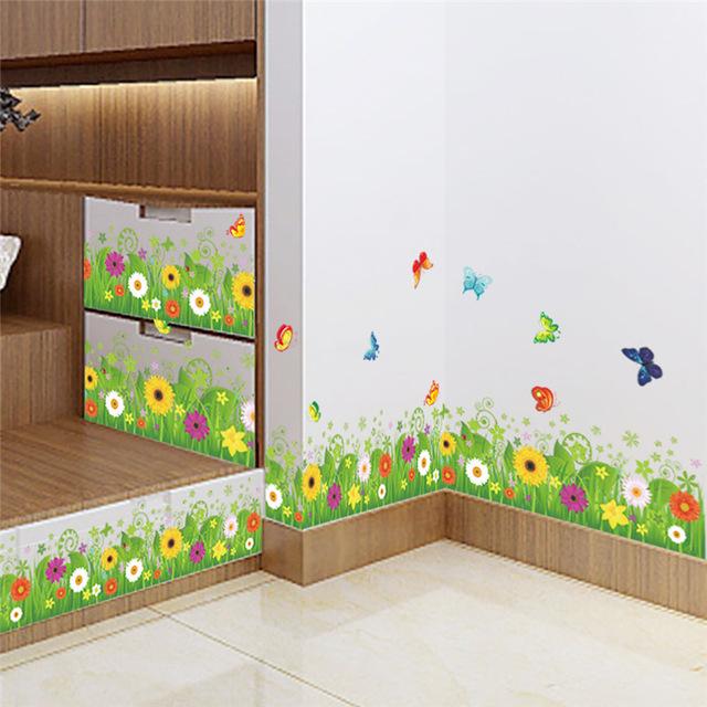Наклейки цветов на стену «Весенняя поляна»