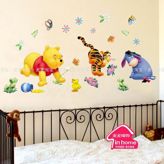 Стикеры на стену с персонажами из мультфильма «Вини Пух и его друзья».