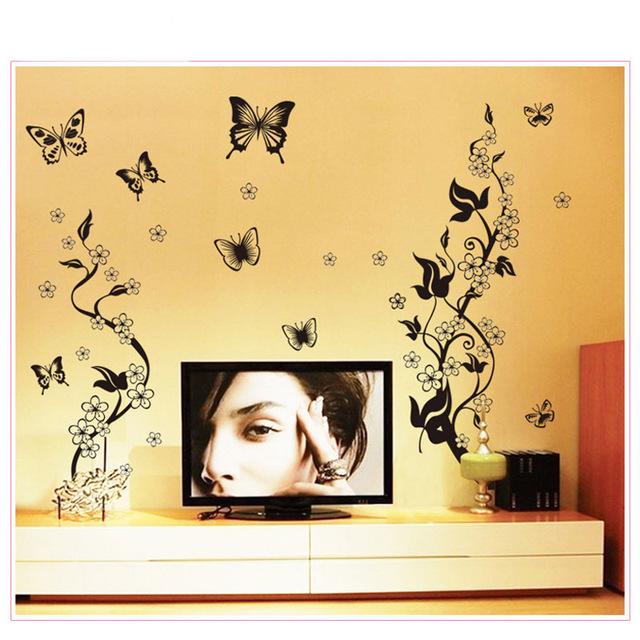 Наклейка на стены в интерьеры «Черный цветок»