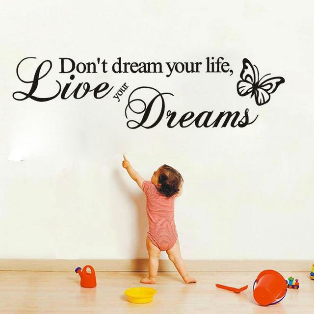 Виниловые наклейки на стену с надписью «Не мечтай о своей жизни, а живи своей мечтой»