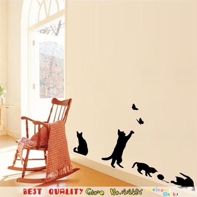 Наклейки на обои «Четыре кота».