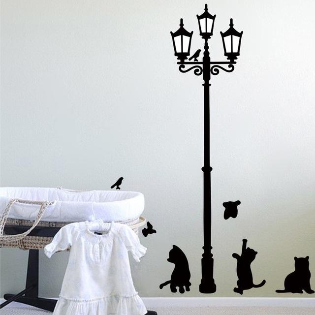 Стикер на стену. «Три котёнка под уличным фонарем»